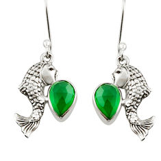 Clearance Sale- 4.52cts natural green chalcedony 925 sterling silver fish earrings d38322