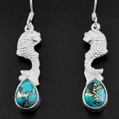 Clearance Sale- 5.52cts blue copper turquoise 925 sterling silver fish earrings jewelry d38325