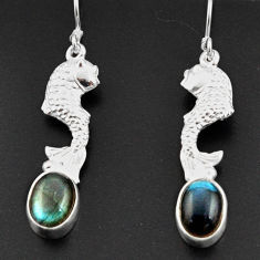 Clearance Sale- 4.38cts natural blue labradorite 925 sterling silver fish earrings d38329