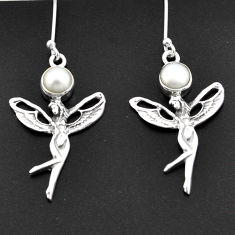 Clearance Sale- 2.35cts natural white pearl 925 silver angel wings fairy earrings d38346