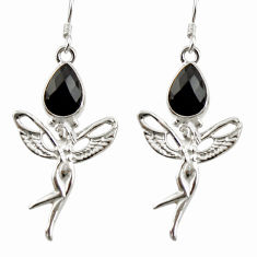 Clearance Sale- 5.51cts natural black onyx 925 sterling silver angel wings fairy earrings d38349