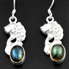 Clearance Sale- 6.83cts natural blue labradorite 925 sterling silver fish earrings d38350