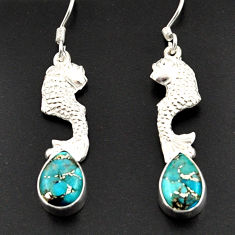Clearance Sale- 5.28cts blue copper turquoise 925 sterling silver fish earrings jewelry d38353