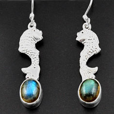 Clearance Sale- 5.52cts natural blue labradorite 925 sterling silver fish earrings d38355