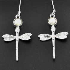 2.23cts natural white pearl 925 sterling silver dragonfly earrings d38361