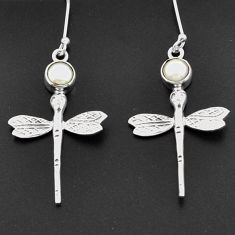 Clearance Sale- 2.24cts natural white pearl 925 sterling silver dragonfly earrings d38362