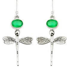 4.40cts natural green chalcedony 925 sterling silver dragonfly earrings d38363
