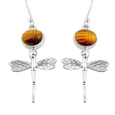 925 sterling silver 7.89cts natural brown tiger's eye dragonfly earrings d38364