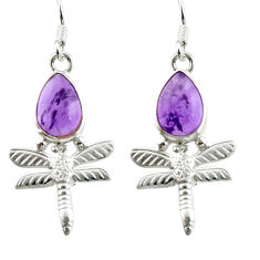 5.13cts natural purple amethyst 925 sterling silver dragonfly earrings d38365