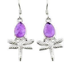 4.69cts natural purple amethyst 925 sterling silver dragonfly earrings d38366