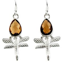 Clearance Sale- 925 sterling silver 5.16cts brown smoky topaz dragonfly earrings jewelry d38367