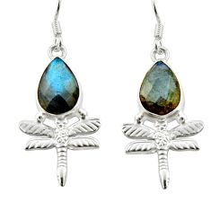 5.16cts natural blue labradorite 925 sterling silver dragonfly earrings d38369