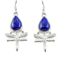 Clearance Sale- 6.26cts natural blue lapis lazuli 925 sterling silver dragonfly earrings d38371