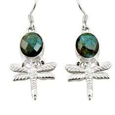 8.22cts natural blue labradorite 925 sterling silver dragonfly earrings d38372