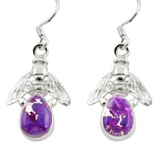 Clearance Sale- 925 sterling silver 4.69cts purple copper turquoise honey bee earrings d38373