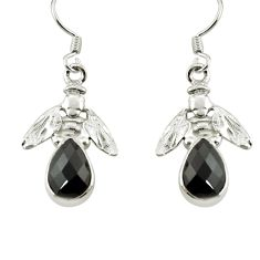 Clearance Sale- 5.16cts natural black onyx 925 sterling silver honey bee earrings jewelry d38374