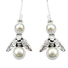 Clearance Sale- 4.40cts natural white pearl 925 sterling silver honey bee earrings d38375