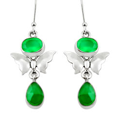 7.63cts natural green chalcedony 925 sterling silver butterfly earrings d38376