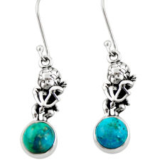 925 sterling silver 6.33cts natural green chrysocolla baby angel earrings d38377