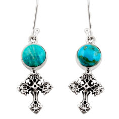 5.63cts natural blue chrysocolla 925 sterling silver holy cross earrings d38378