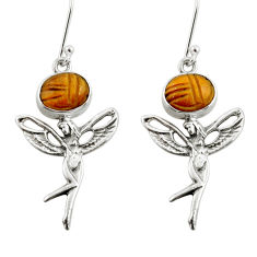 8.22cts natural brown tiger's eye 925 silver angel wings fairy earrings d38379