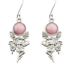 925 sterling silver 5.81cts natural pink opal angel wings fairy earrings d38380