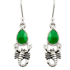 4.92cts natural green chalcedony 925 sterling silver scorpion earrings d38382