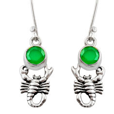 2.13cts natural green chalcedony 925 sterling silver scorpion earrings d38386