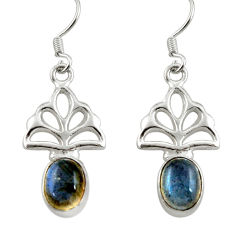 Clearance Sale- 6.35cts natural blue labradorite 925 sterling silver earrings jewelry d38399