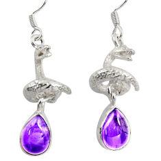 6.57cts natural purple amethyst 925 silver anaconda snake earrings d38401