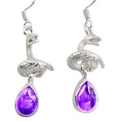 6.55cts natural purple amethyst 925 silver anaconda snake earrings d38402