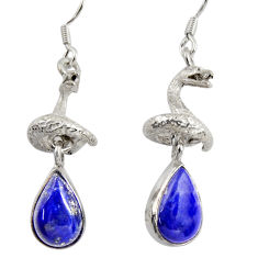 Clearance Sale- 7.38cts natural blue lapis lazuli 925 silver anaconda snake earrings d38406