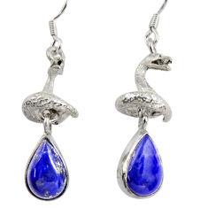 7.38cts natural blue lapis lazuli 925 silver anaconda snake earrings d38406