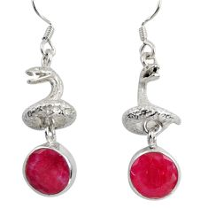 925 sterling silver 8.27cts natural red ruby anaconda snake earrings d38407