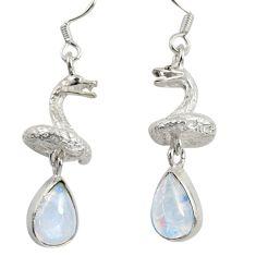 6.80cts natural rainbow moonstone 925 silver anaconda snake earrings d38408