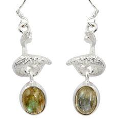 6.80cts natural blue labradorite 925 silver anaconda snake earrings d38409