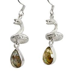 6.33cts natural blue labradorite 925 silver anaconda snake earrings d38410