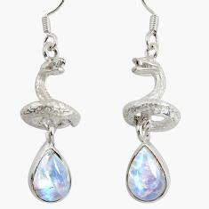 925 silver 6.57cts natural rainbow moonstone anaconda snake earrings d38411