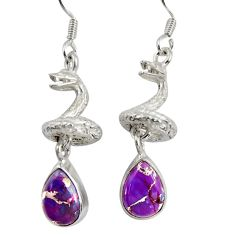 6.33cts purple copper turquoise 925 silver anaconda snake earrings d38412