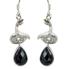 5.48cts natural black onyx 925 sterling silver anaconda snake earrings d38413