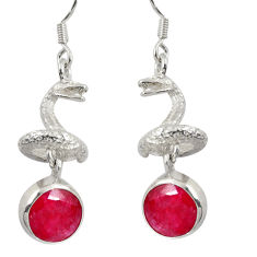 Clearance Sale- 925 sterling silver 7.98cts natural red ruby anaconda snake earrings d38414