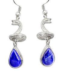 6.76cts natural blue lapis lazuli 925 silver anaconda snake earrings d38415