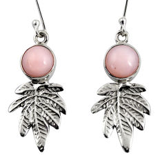 5.36cts natural pink opal 925 sterling silver deltoid leaf earrings d38416