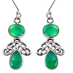ver 7.89cts natural green chalcedony dangle earrings d38419