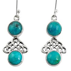 12.07cts natural green chrysocolla 925 sterling silver dangle earrings d38420
