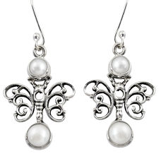 Clearance Sale- 925 sterling silver 4.21cts natural white pearl butterfly earrings d38424