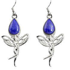 8.21cts natural blue lapis lazuli 925 silver angel wings fairy earrings d38427