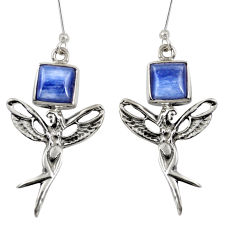 Clearance Sale- 925 silver 8.75cts natural blue kyanite angel wings fairy earrings d38428