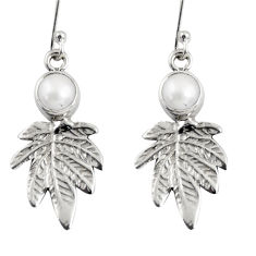 Clearance Sale- 2.41cts natural white pearl 925 sterling silver deltoid leaf earrings d38429