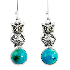 925 sterling silver 6.72cts natural green chrysocolla owl earrings d38432